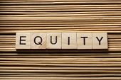 EQUITY word written on wooden cubes. Finance concept poster