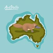 platypus in australia map in green surrounded by the ocean vector illustration poster