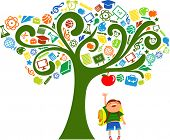 back to school - tree with education icons poster