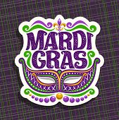 Vector logo for Mardi Gras Carnival, poster with venetian masquerade mask, symbol fleur de lis, original font for festive text mardi gras on dark abstract background, sign for carnival in New Orleans. poster