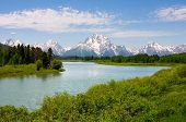 Mt. Moran at Oxbow Bend in the Grand Teton National Park, Wyoming. poster