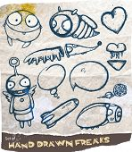 Set of hand drawn freaks with speech bubbles poster