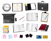Business and office supplies. Vector. poster