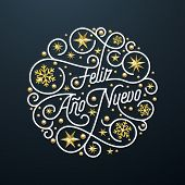 Feliz Ano Nuevo Spanish Happy New Year Navidad calligraphy lettering and golden snowflake pattern on black background for greeting card design. Vector golden Christmas flourish swash holiday text poster