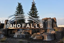 IDAHO FALLS, ID - AUG 24: The Idaho Falls city sign in Idaho, as seen on Aug 24, 2017.