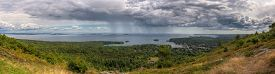 Panorama From Mt Battie in Camden Maine - passing storm