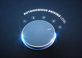 Autonomous driving level concept on black background. 3d rendering.