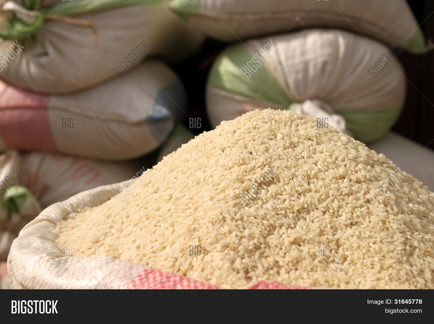 Bags Rice Sale Image Photo Free Trial Bigstock
