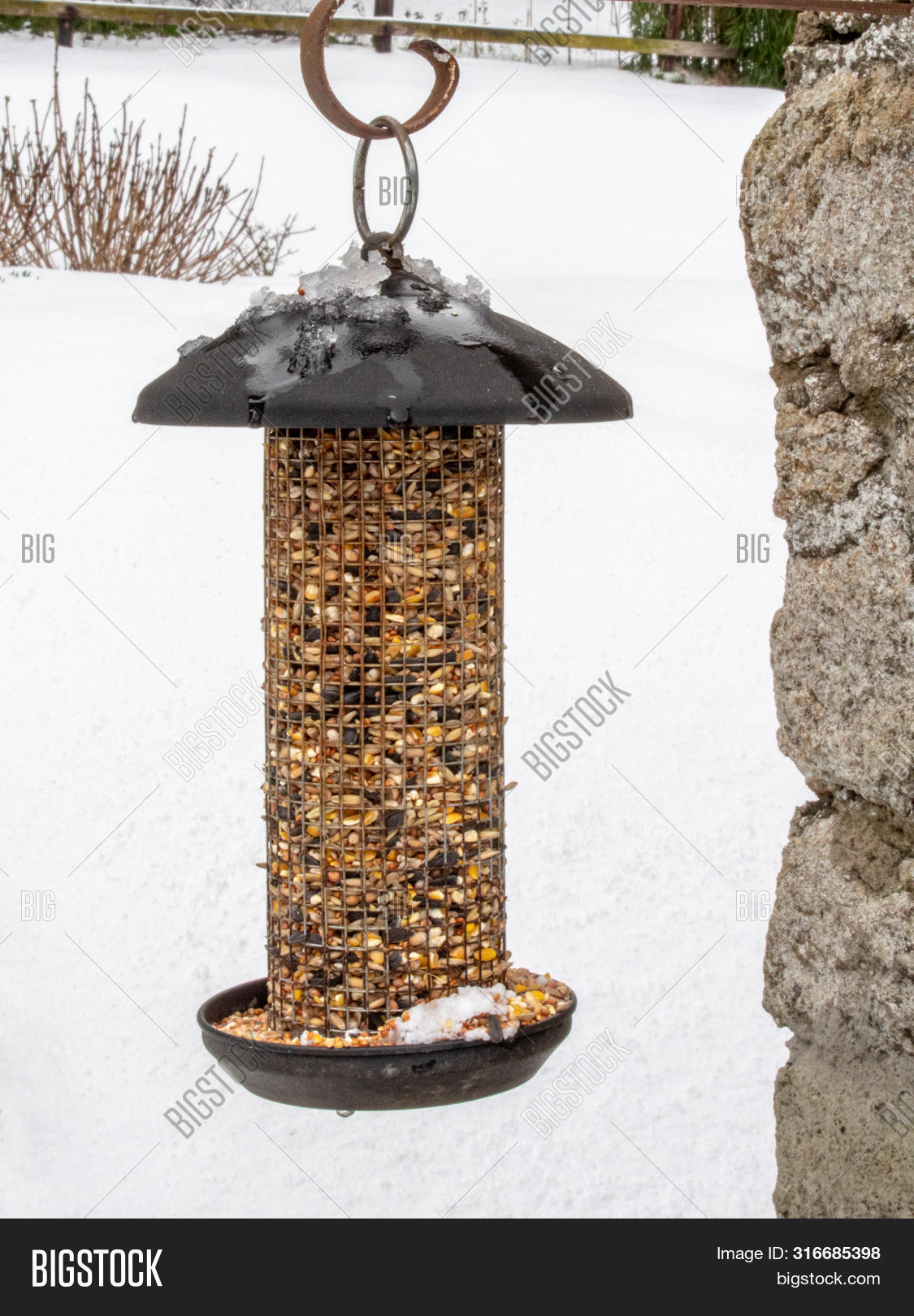 A Bird Feeder Hanging In The Snow