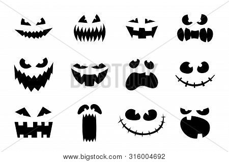 Halloween Monster Jack Lantern Pumpkin Carved Glowing Scary Face Set On White Background. Holiday Ca