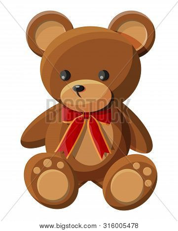 Teddy Bear With Bow. Bear Plush Toy. Teddybear Icon. Vector Illustration In Flat Style