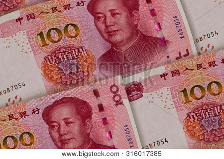 100 Chinese Renminbi banknotes background. China, Beijing. Asia poster