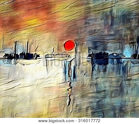 Modern abstract painting in sumi-e style. Red sunset. Artwork for creative graphic design. 3D rendering