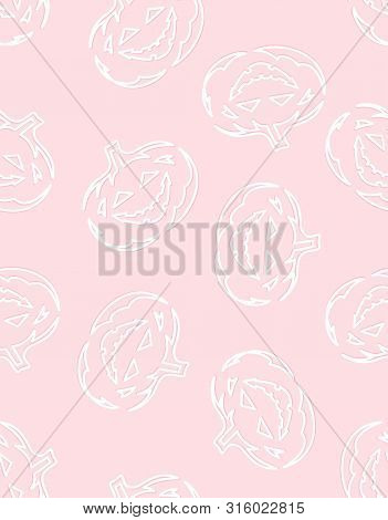 Seamless Pattern With White Pumpkins On Pink Background, Simple Picture With Pumpkins To Holiday Hal