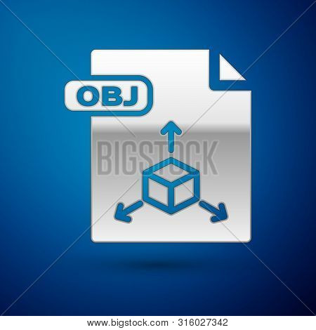 Silver Obj File Document. Download Obj Button Icon Isolated On Blue Background. Obj File Symbol. Vec
