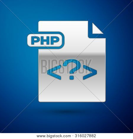 Silver Php File Document. Download Php Button Icon Isolated On Blue Background. Php File Symbol. Vec