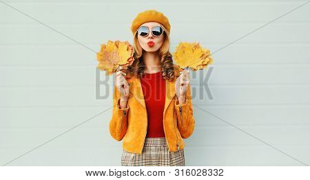 Autumn Portrait Woman Holding Yellow Maple Leaves Blowing Red Lips Sending Sweet Air Kiss In French