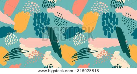 Abstract Artistic Seamless Pattern With Trendy Hand Drawn Textures, Spots, Brush Strokes.