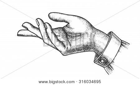 Girl Hand Gesture Show Direction Handdrawn Vector. Index Finger Arrow Suggesting Direction Course. F