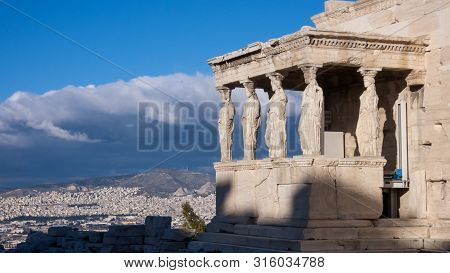 The Porch Of The Caryatids In The Erechtheion An Ancient Greek Temple On The North Side Of The Acrop