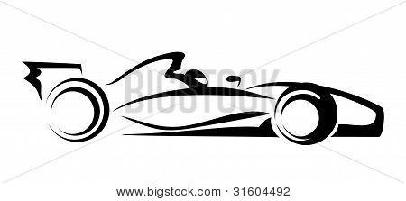 formula 1 symbol, vector illustration in simple black lines poster