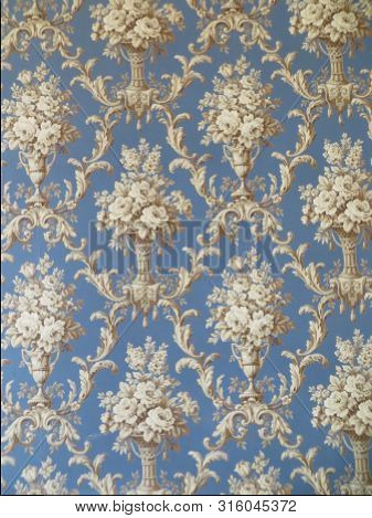 Drawn Vintage Wallpaper. Flowers,  Blooming . Design For Fabric, Textile, Paper