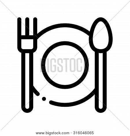 Plate Fork And Spoon Vector Sign Thin Line Icon. Plate With Flatware Restaurant Mark, Hotel Performa