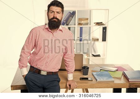 Business Manager. Serious Bearded Man At Workplace. Businessman. Office Life. Bearded Man In Office.