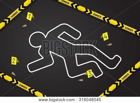 Crime Scene, Do Not Cross Police Tape. Chalk Outline From The Murder