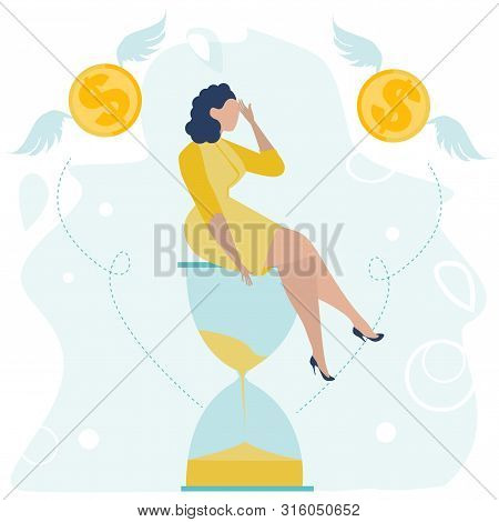Depressed Businesswoman With A Headache Sitting On The Hourglass. Money Problem And Financial Troubl