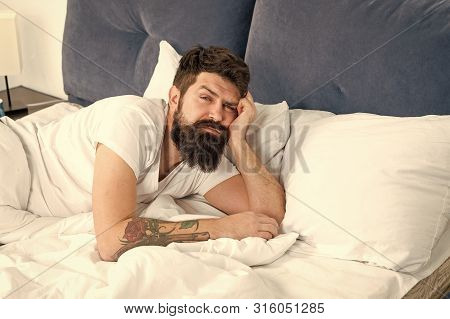 Man Bearded Hipster Woke Up Too Early And Feels Sleepy And Tired. Early To Get Up. Keep You Wide Awa