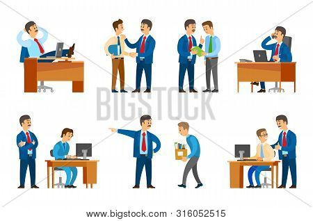 Boss Professional Leader Of Company Firing Man And Giving Official Rebuke To Worker Vector. Director