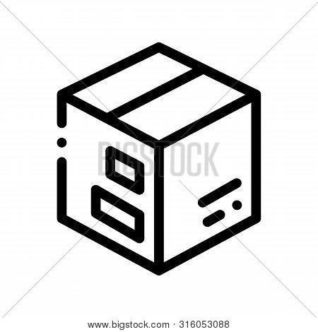 Transportation Carton Box Vector Thin Line Icon. Carton Box Equipment For Move On New Apartment Buil