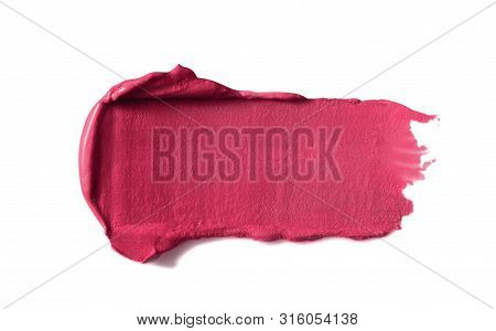 Lipstick Stroke, Smear, Smudge. Pink Makeup, Cosmetic Product Swatch, Sample  Isolated On White Back