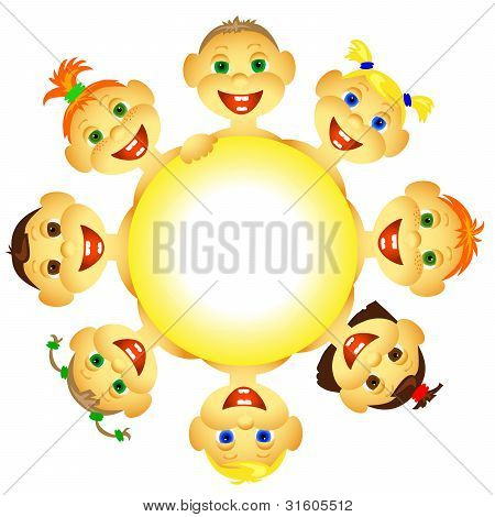 Funny, laughing, happy children. Solar circle.eps