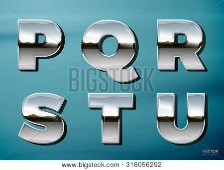 Vector Realistic Chrome Letters With Landscape Relection, On A Bright Blue Car Background. P, Q, R,