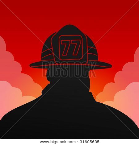 Red Fireman Silhouette