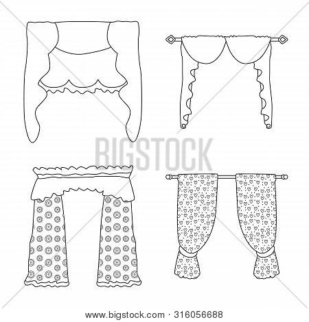 Vector Design Of Fabric And Decoration Logo. Set Of Fabric And Cornice Vector Icon For Stock.