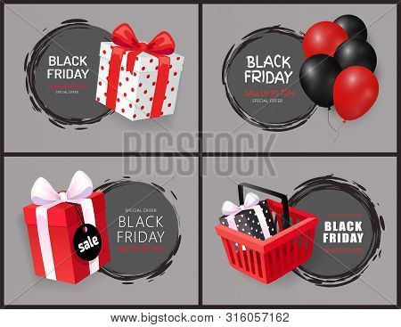Black Friday Discount And Sales Isolated Banners Set Vector. Sellout Of Shops, Autumn Clearance, Pro