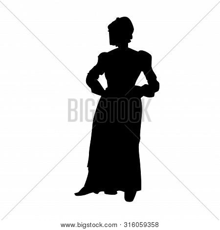 The American  Pilgrim Woman Silhouette, Black Vector Illustration Isolated On White Background.