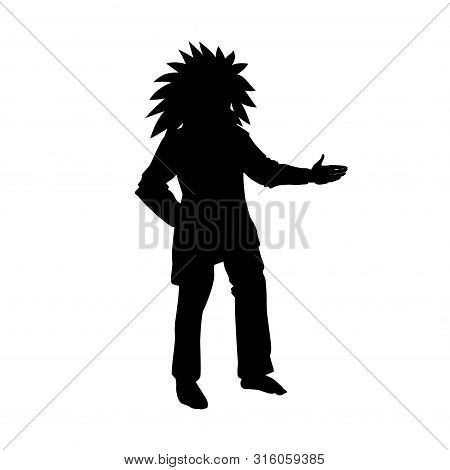 The Indian Man Silhouette, Black Vector Illustration Isolated On White Background. The Aboriginal Of