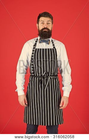 I am entirely at your service. A man servant. Bearded man wearing bib apron. Man cook with beard and mustache in cooking apron. Elegant waiter man or bartender. poster