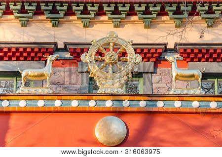 Dharmacakra - Wheel Of The Dharma And Two Doe Simbol Of Buddhism, Hinduism, Jainism