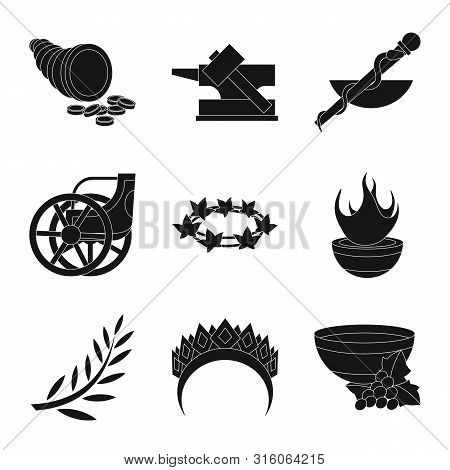 Vector Illustration Of Religion And Myths Sign. Collection Of Religion And Greek Vector Icon For Sto