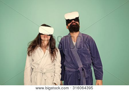 Bearded Man And Woman In Robe. Couple In Love. Family. Virtual Reality And 3d. Love. Modern Family I