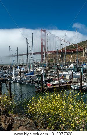 San Francisco,  July 23, 2019.  Golden Gate Bridge And The Presidio Yacht Harbor In San Francisco, C