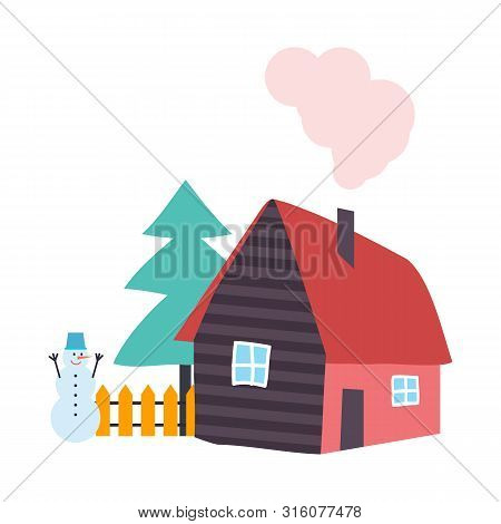 Tree Pine Growing By Wooden Cottage House Vector. Snowman With Carrot Nose And Bucket On Head, Fence