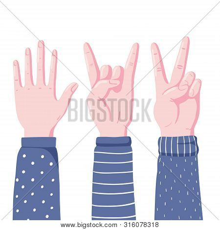 Set Of Human Hands Showing High Five, Devil Horns And Victory Sign Gestures, Flat Style Vector Illus