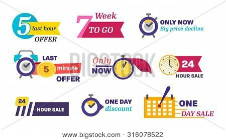 Sale Countdown Days Left Badge Vector Isolated