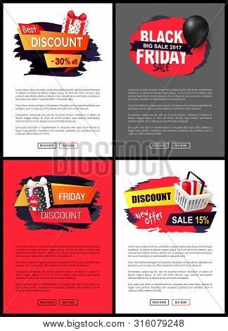 Black Friday Autumn Holiday Sellout Of Shops Web Vector. Special Clearance And Proposition To Client